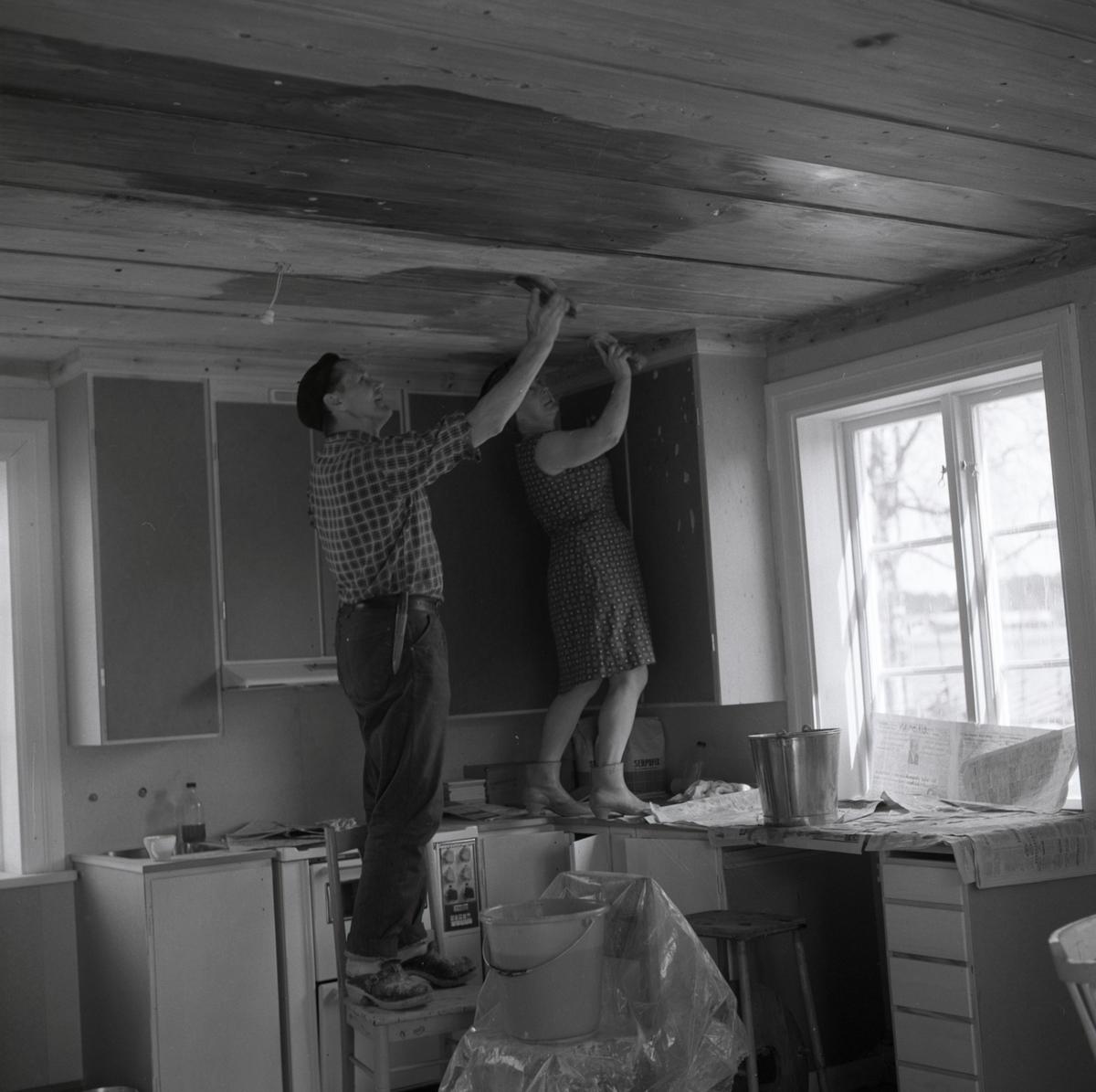 Hilding och hans fru skurar taket i köket vid gården Sunnanåker, 1967-1968.