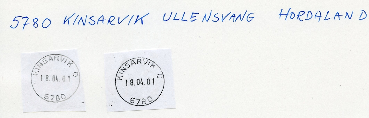 Stempelkatalog 5780 Kinsarvik, Odda, Ullensvang kommune, Hordaland