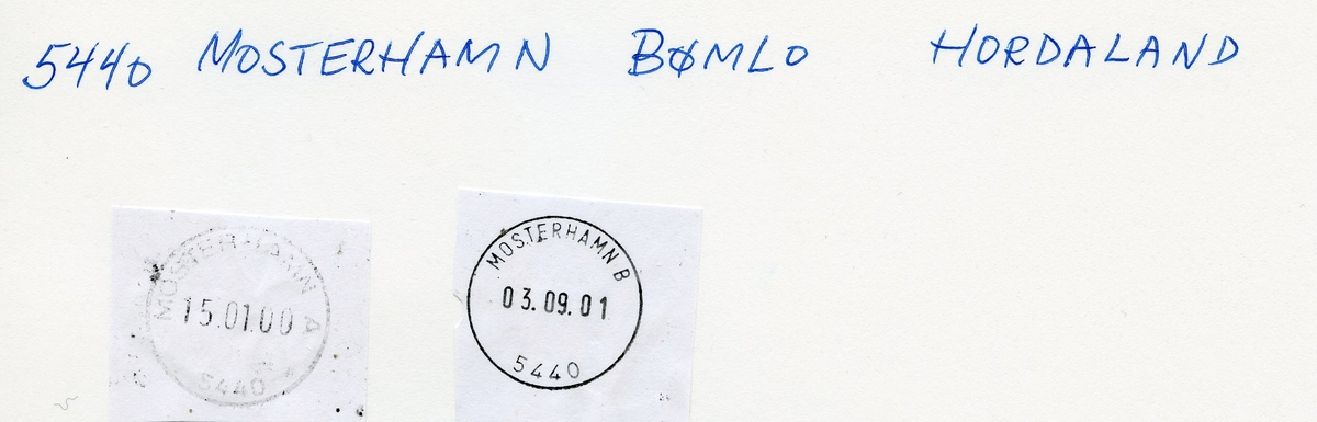 Stempelkatalog   5440 Mosterhamn, Bømlo kommune, Hordaland