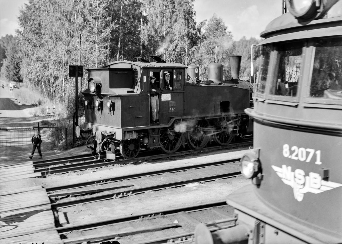 Damplokomotiv type 20b nr. 250 på Hokksund stasjon. Foran elektrisk lokomotiv type El 8 nr. 2071.