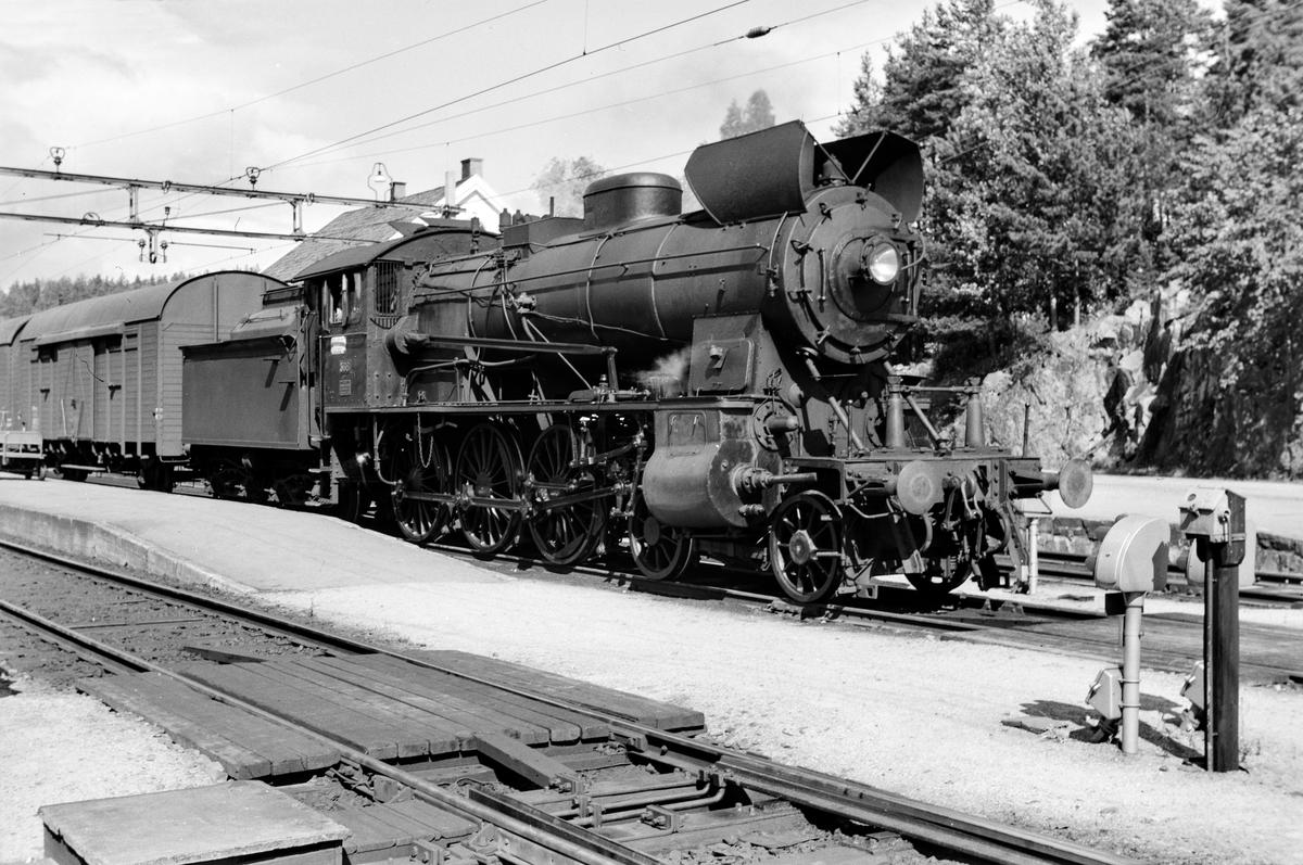 Damplokomotiv type 30b nr. 368 på Neslandsvatn stasjon med tog til Kragerø.