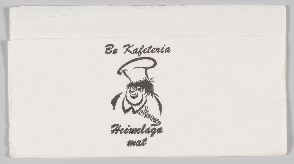 En kokk med bustete hår og skjortehals som likner på bokstaven W i Welkommen og reklametekst for Bø Kafeteria.