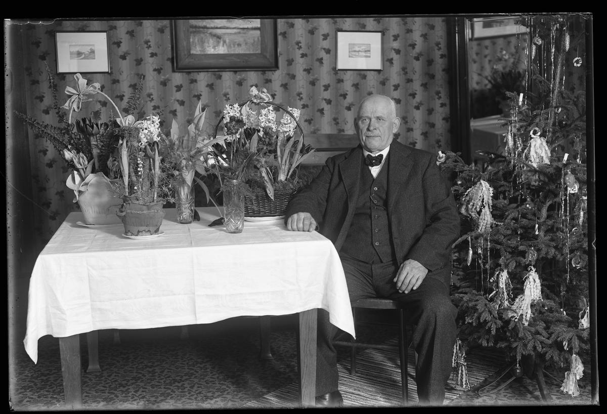 Axel Wiberg fotograferad sittandes vid ett bord fullt av blommor. Bilden är tagen i samband med hans 60årsdag. Vid sidan av honom står en klädd julgran.