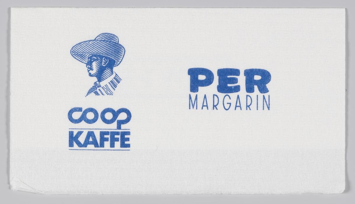 En mann med en bredbremmet hatt og en reklametekst for S-laget, Coop kaffe og Per margarin.