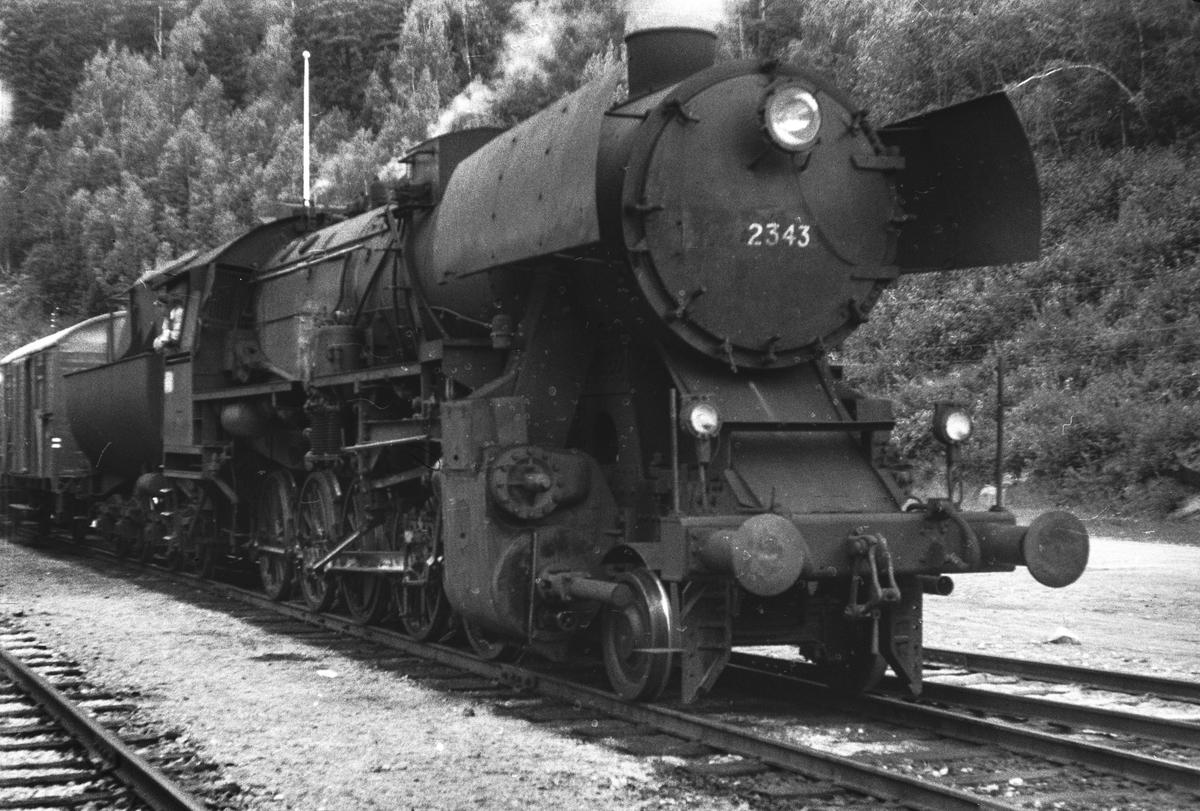 Damplokomotiv type 63a nr. 2343 med godstog på Verma stasjon.
