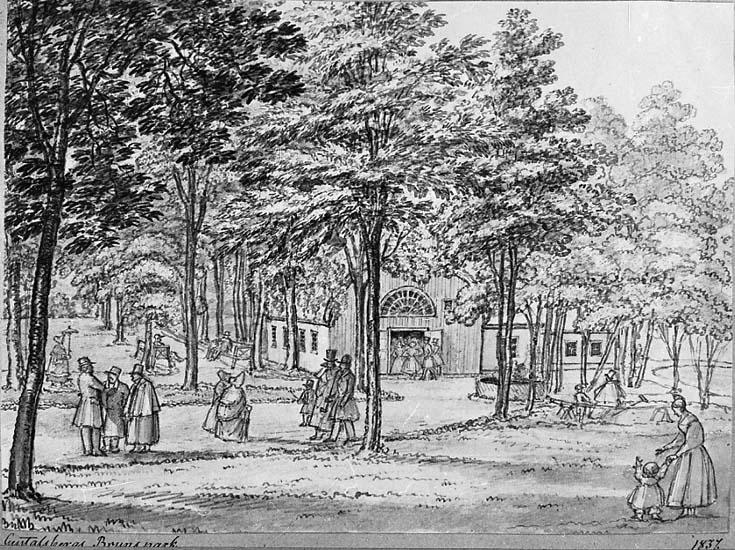 """Medföljande text: """"Gustafsbergs, brunnspark teckning""""."""