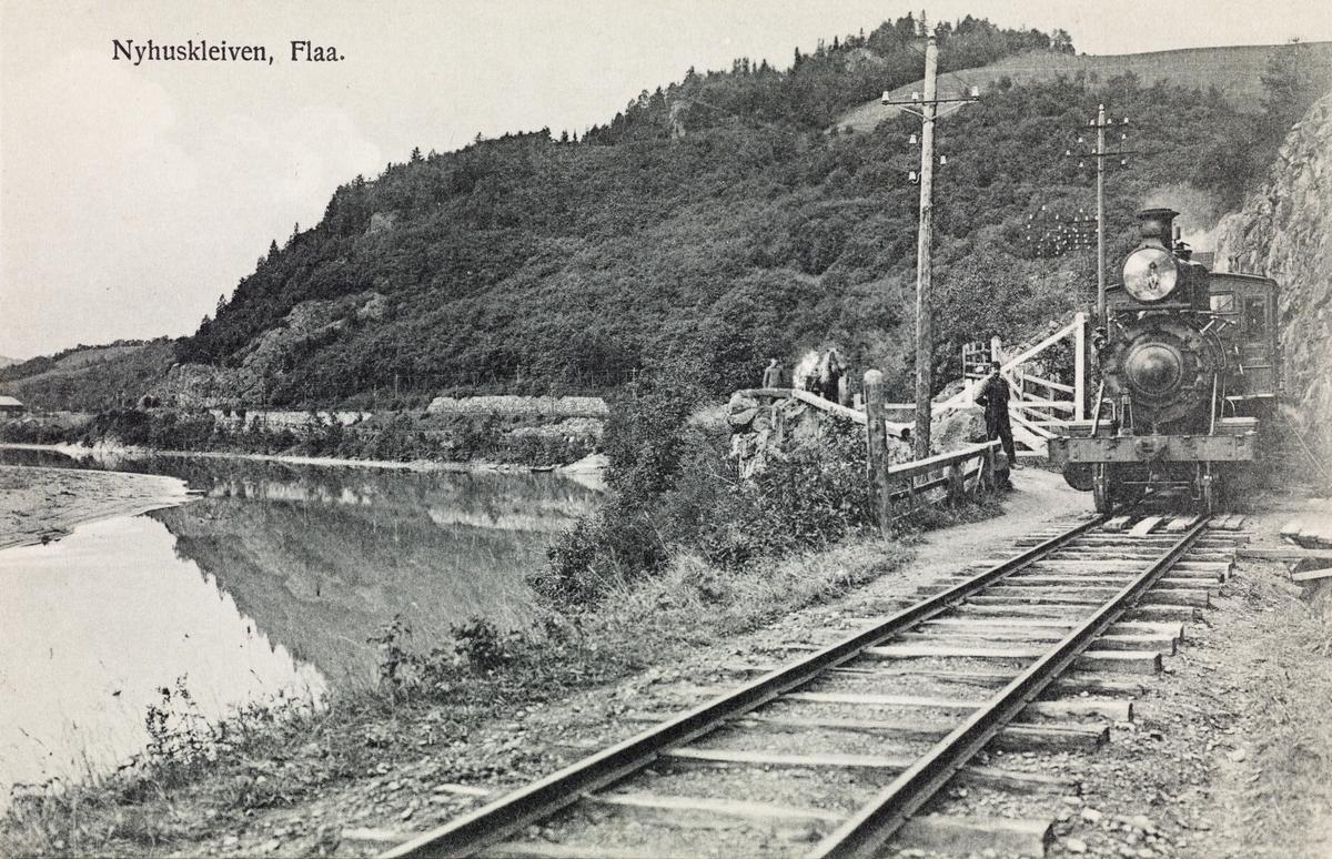 Damplokomotiv type XV ved Nyhuskleivene mellom Ler og Kvål