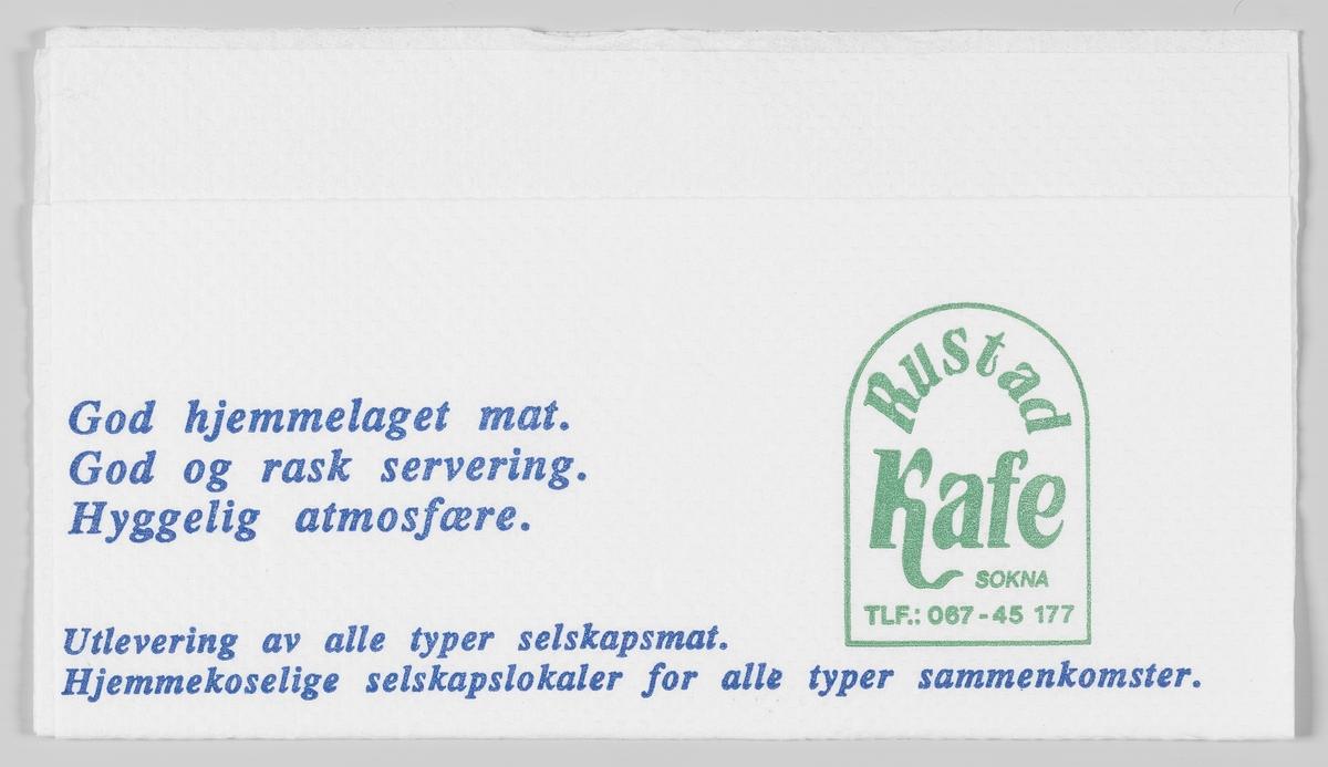 En reklametekst for Rustad Kafe på Sokna.  Rustad Kafe ble etablert i 1947. Gjennom årene har bedriften utviklet seg i takt med trafikken på Riksveg 7.   Samme reklame på MIA.00007-004-0303 og MIA.00007-004-0304.