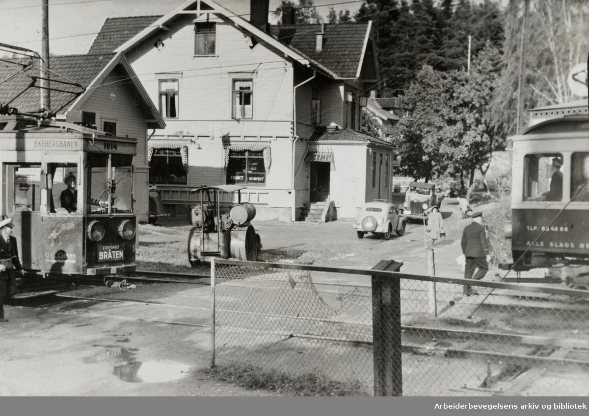 Ekeberg. Krysset ved Bråten. August 1948