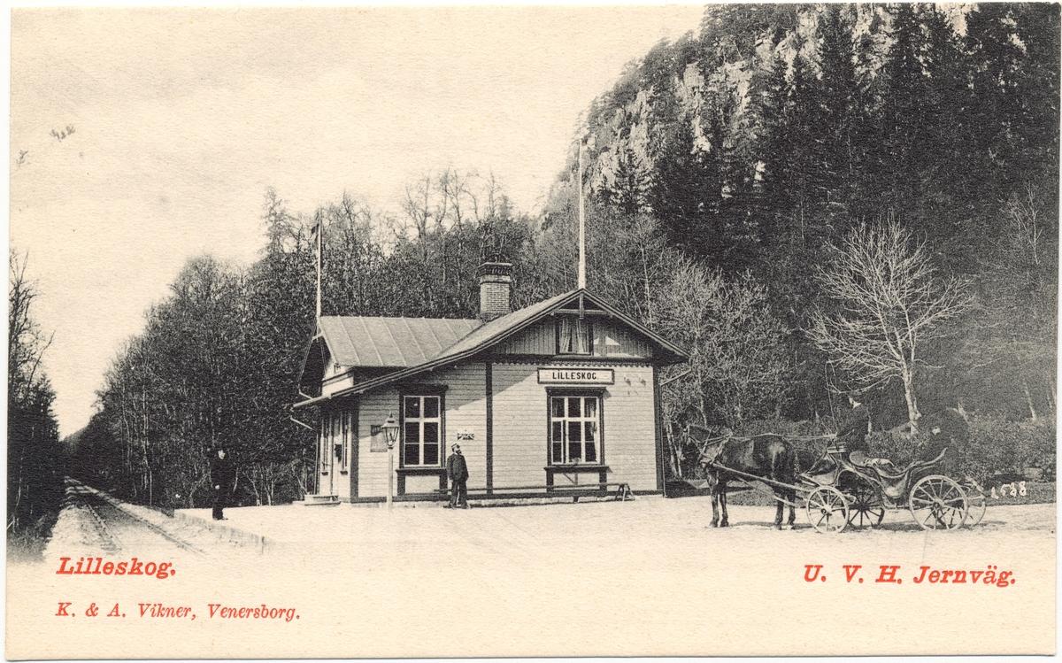 Vykort föreställande Lilleskog station.