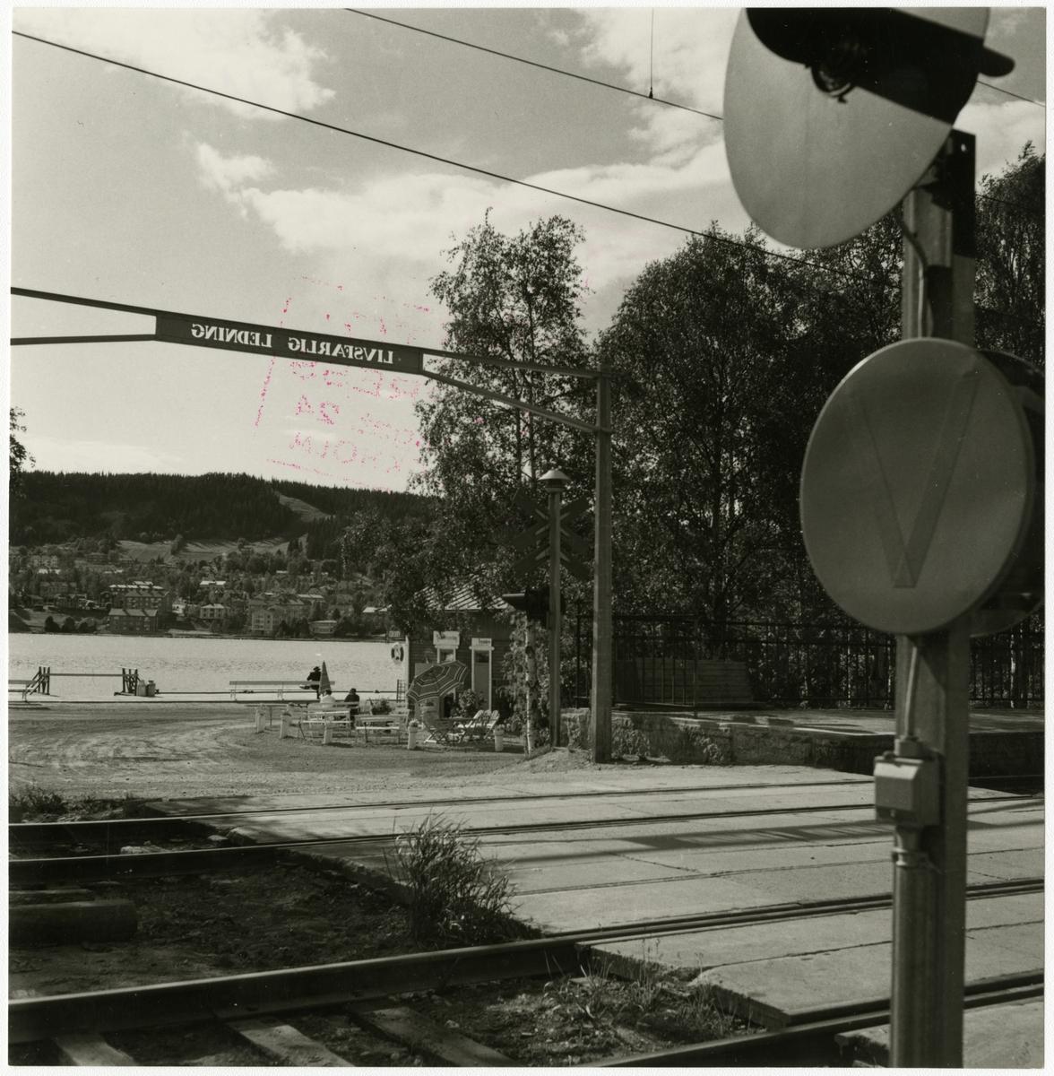 Östersund station och bangård i juni 1959. Statens Järnvägar, SJ.
