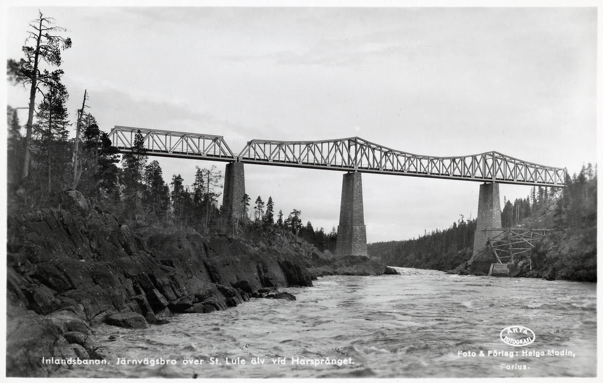 Bron över Stora Lule Älv ovanströms Harsprånget längs Inlandsbanan.