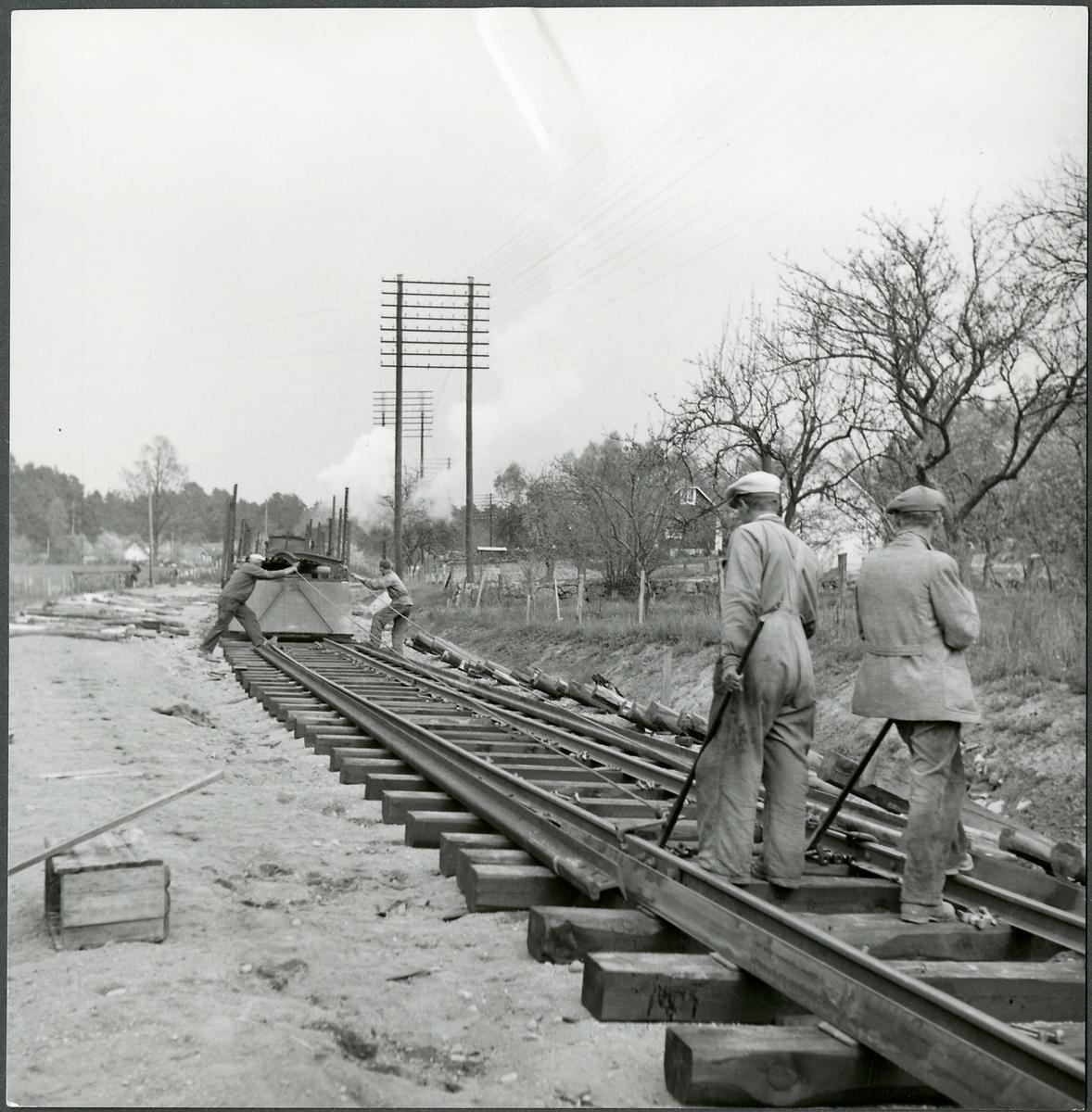 Järnvägsbygget på linjen mellan Kristianstad-Karlshamn.