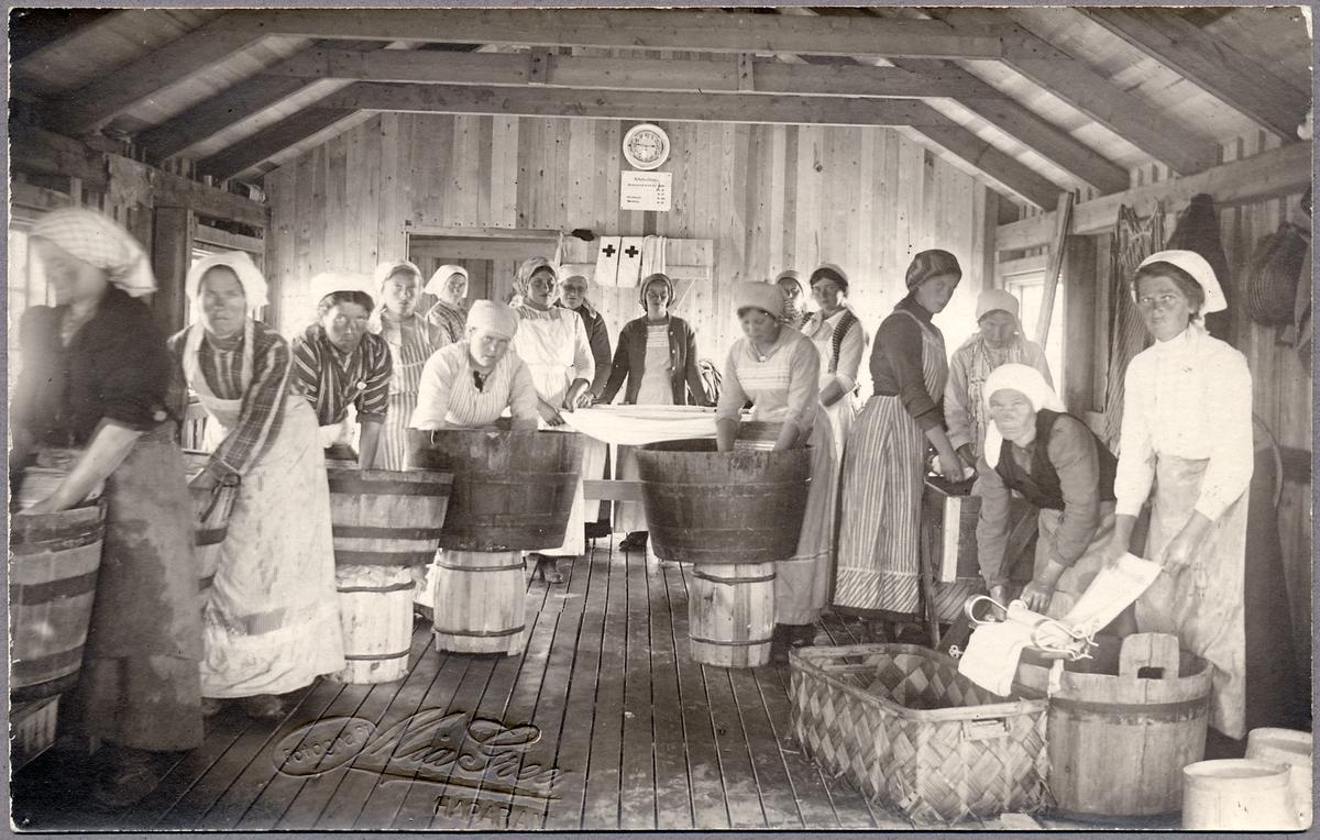 Sjukvårdstvätt under Första världskriget i Haparanda.
