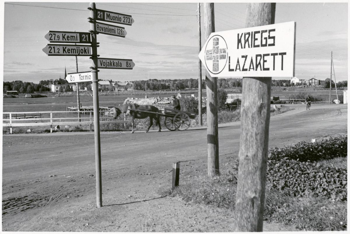 Skylt som pekade ut det tyska Kriegslazarett i Kemi.