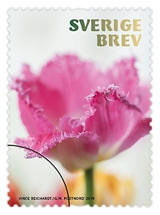 Frimärken i häfte med tio självhäftande frimärken med fem motiv av tulpaner av olika slag. Valör Brev.