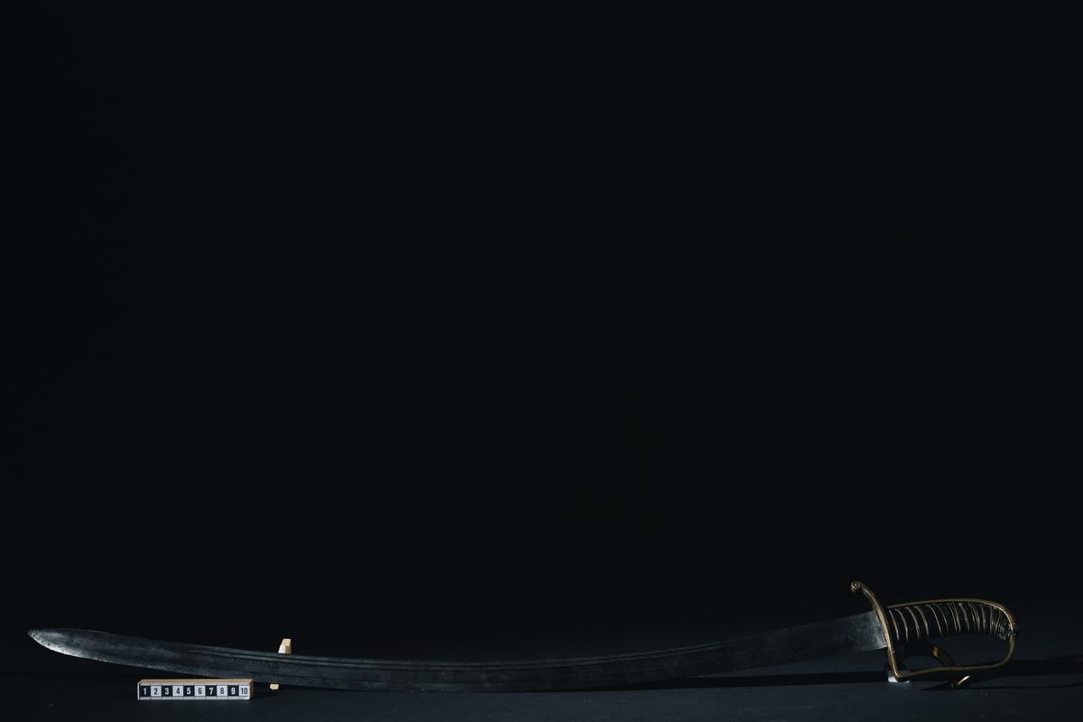 Sjöofficersabel m/1770 med balja. På parerplåten finns ett ankare med kunglig krona över i relief.