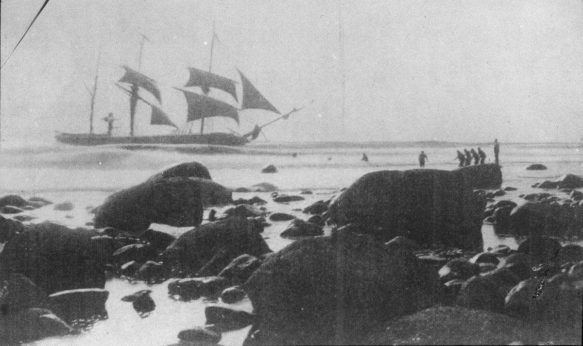 Rastert print av bark MINERVA av Kalmar, som forliste ved Kvassheimsstranden på Jæren, 16. september 1896. 11 mann ble reddet og to stykker druknet. Bildet er tatt under redningsaksjonen.