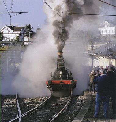 Foto av damplokomotiv som ankommer stasjon.