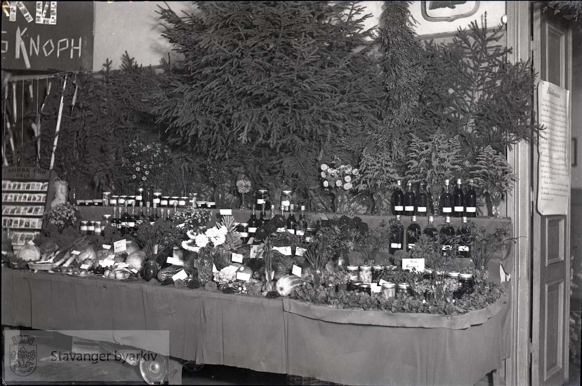 Bord med utstilling av diverse produkt fra kolonihagene.