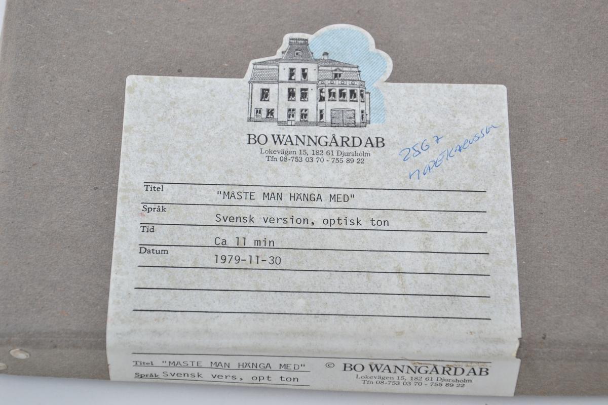 Film brukt til undervisning/utlån ved Troms Heimstellkontor, Harstad. Med følgebrev fra Forbrukerkontoret i Rogaland.