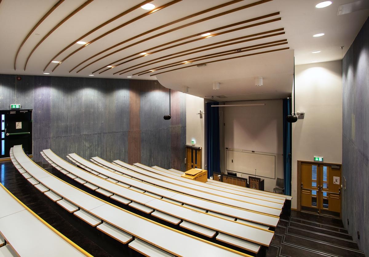Utsmykkingen omfatter lasering av betongveggene i de tre auditoriene. Tre blåfarger er valgt som respektive hovedfarger til hvert av auditoriene; varmblå, kaldblå og blågrønn.