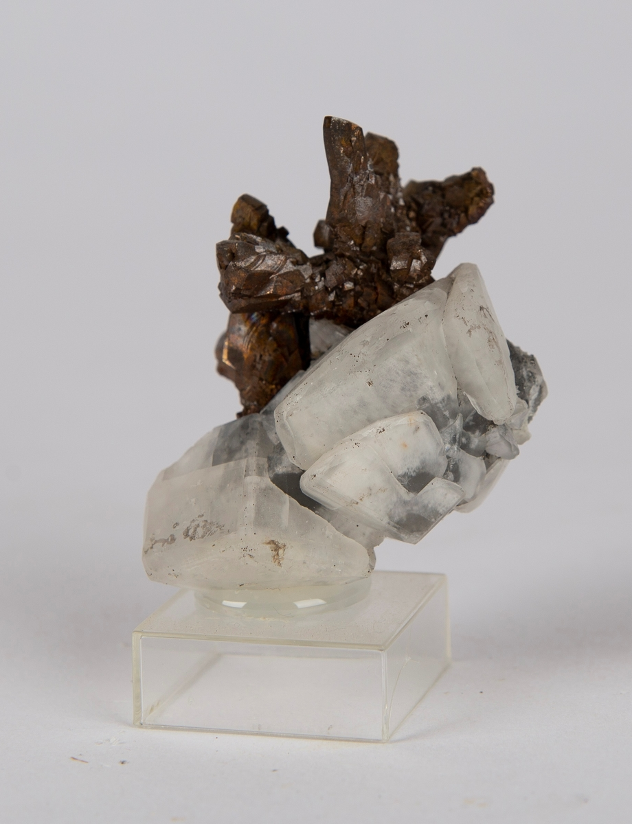 Krystaller av pyritt på krystaller av kalsitt. Gottes Hülfe in der Noth, 150 m.