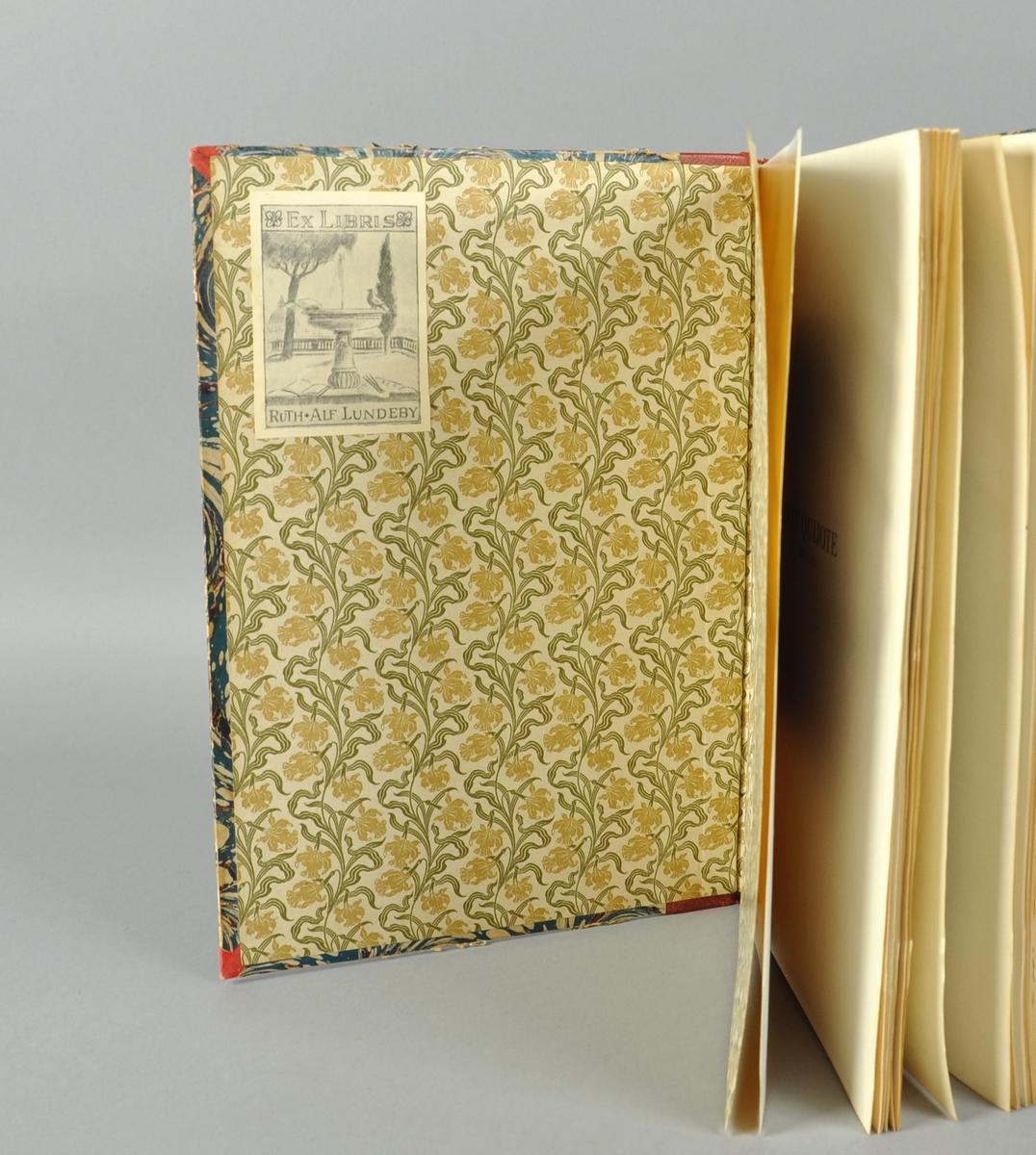 Bok i stort format med skinnrygg. Illustrert av Marstrand, Goya og Daumier.