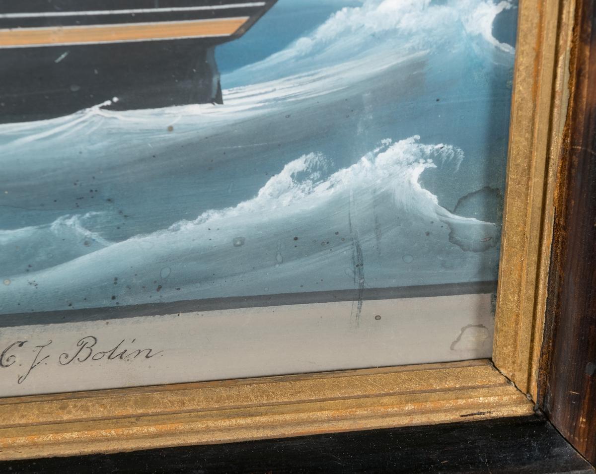 Osignerad fartygstavla föreställande fullriggaren Blixten. Kom till Gävles handelsflotta 1837.