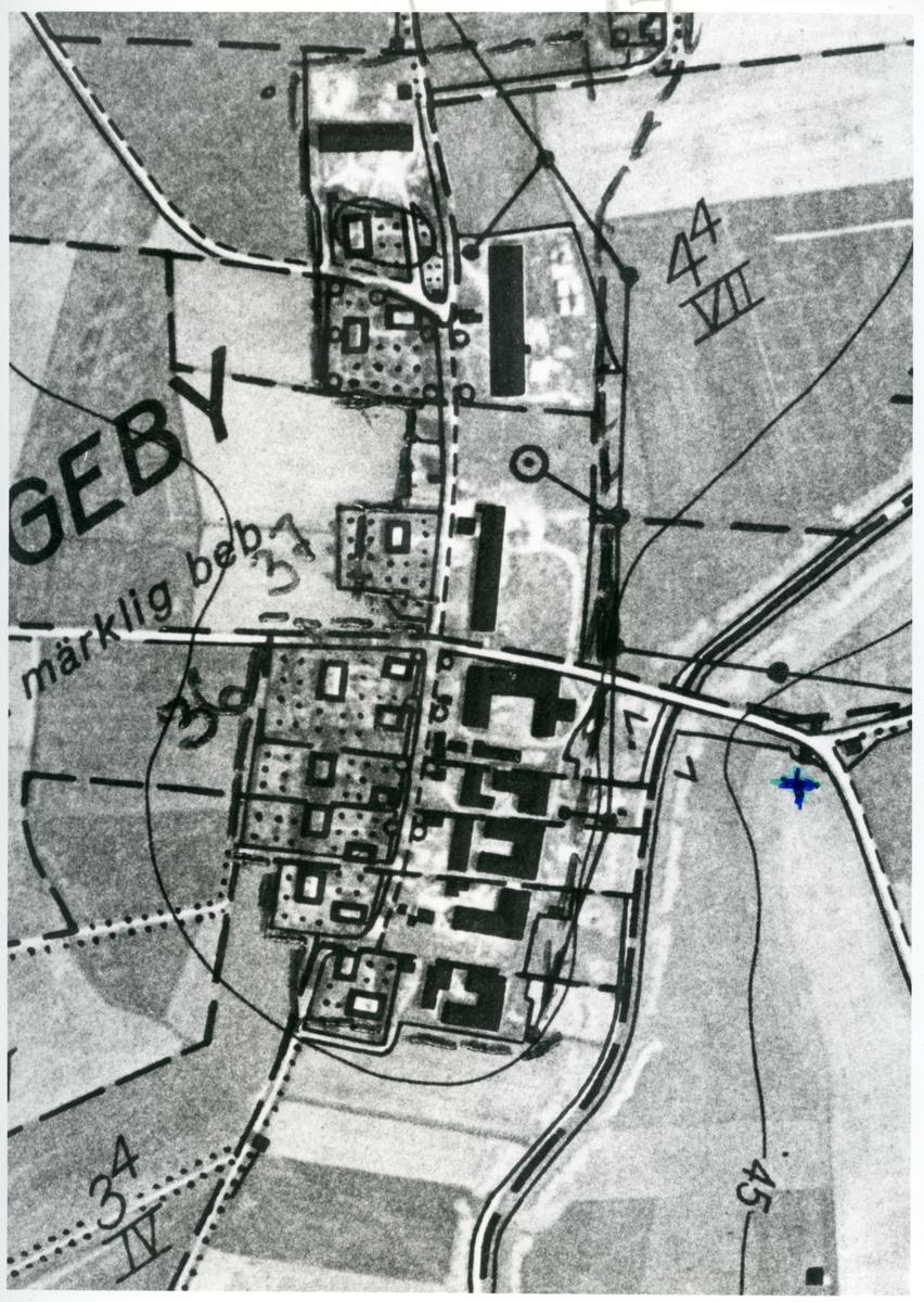 Huddunge sn, Huddungeby. Avfotograferad detalj av karta över Huddung radby.
