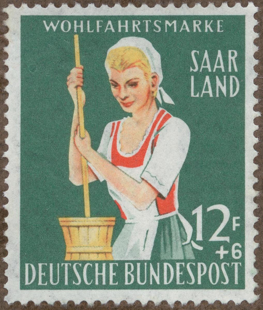 Frimärke ur Gösta Bodmans filatelistiska motivsamling, påbörjad 1950. Frimärke från Västtyskland, 1958. Motiv av kvinna med smörtjärna.