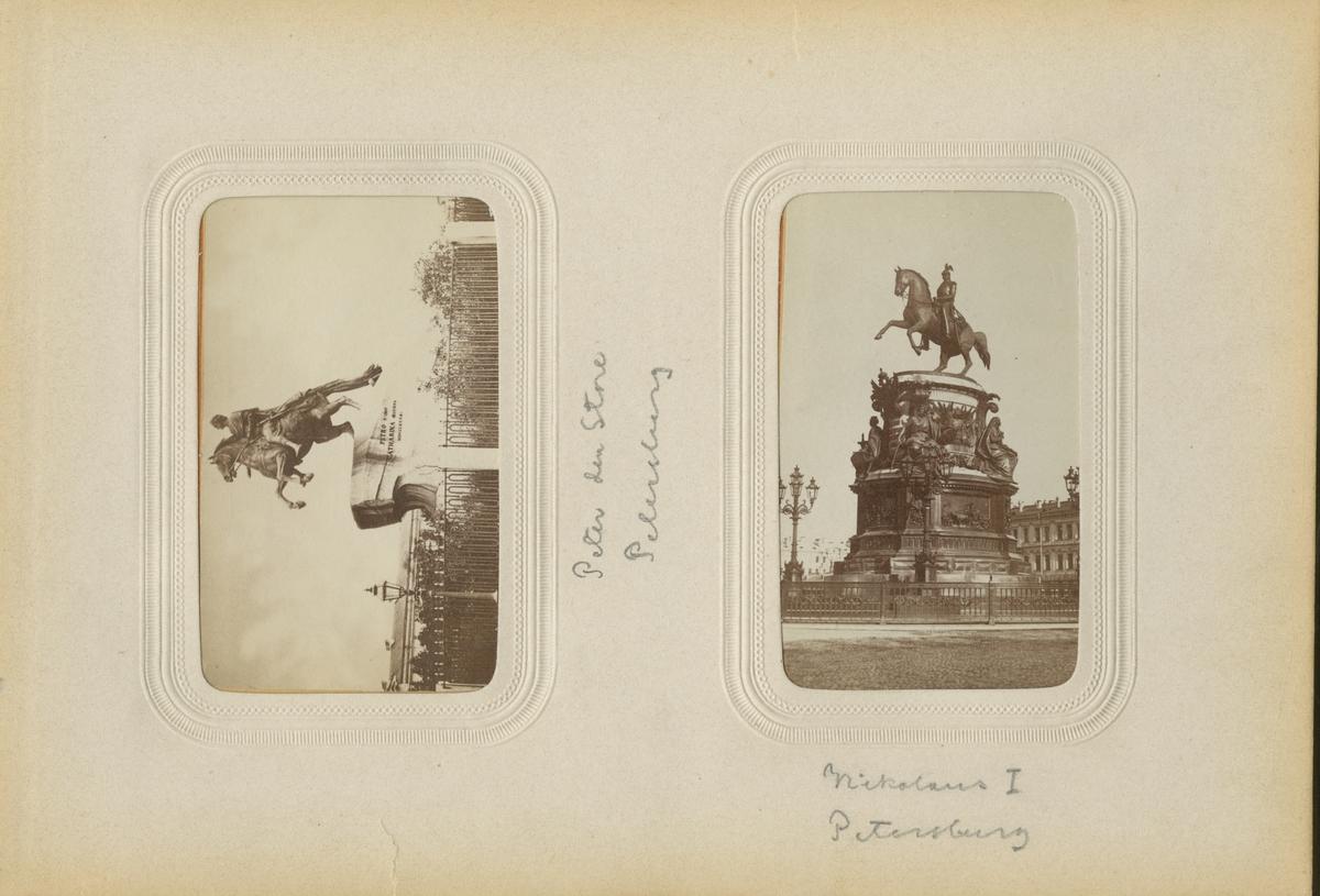 Ryttarstaty av tsar Peter den store i S:t Petersburg.