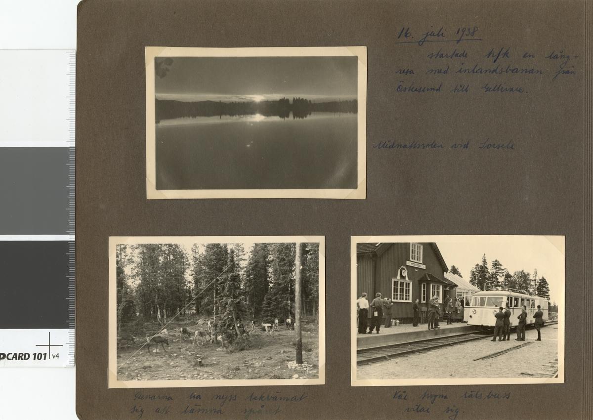"""Text i fotoalbum: """"16. juli 1938 startade hfk (högre fortifikationskurs) en långresa med inlandsbanan från Östersund till Gellivare. Midnattssolen vid Sorsele."""""""