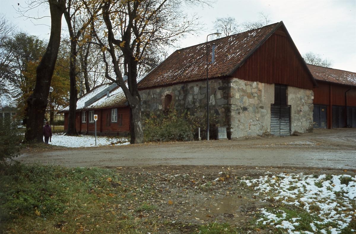 Trähus och stenhus i Olof Ahllöfs park. Stenhuset kom att heta S:t Karins kapell.