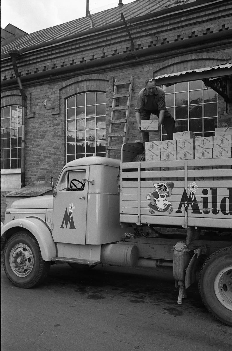 Arboga Margarinfabrik och en lastbil med texten Milda. På flaket arbetar Holger Strömberg med att stapla margarinpaket. Detta är den sista utlastningen från Arboga Margarinfabrik. Trots att fabriken gick för fullt och nya paketeringsmaskiner just installerats, bestämde ledningen att fabriken måste läggas ner. Anledningen var att konkurrensen ökat och att fabrikens placering, inne i landet, gjorde det dyrt att frakta råvaror. Fabriken lades ner 30 september 1960. Läs om Arboga Margarinfabrik: Arboga Minnes årsbok 1978 Reinhold Carlssons bok Arboga objektivt sett