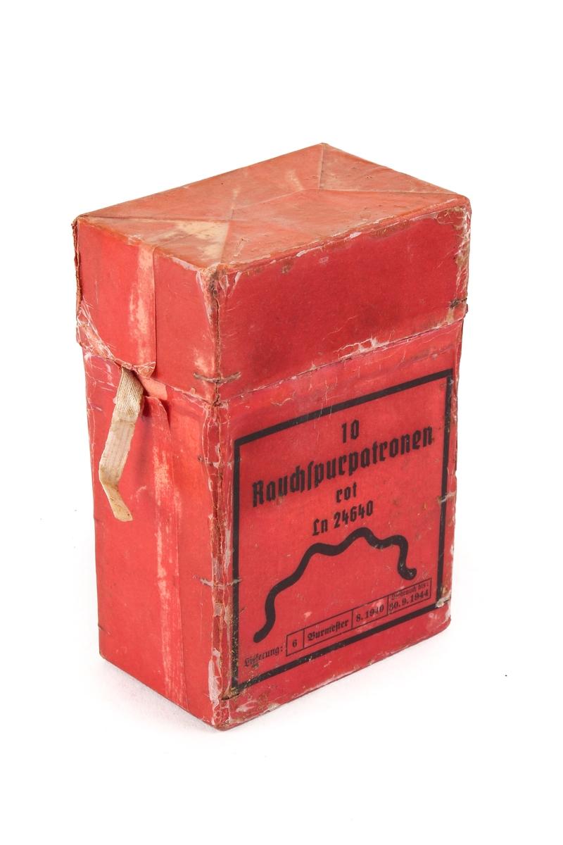 Voksbelagt ammunisjonsboks til røykpatroner