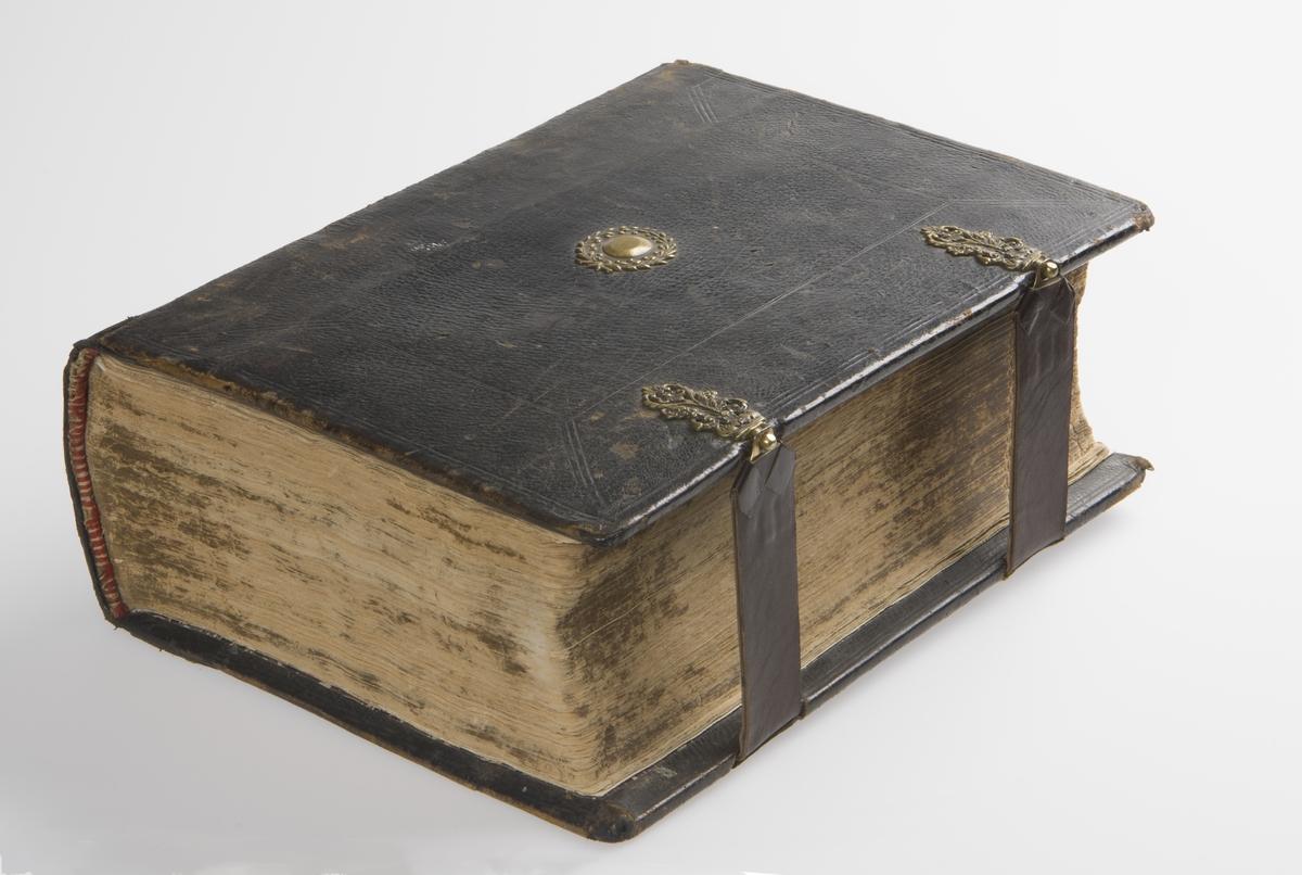 Bibel med omslag av skinn. Bibelen har to låsebeslag av messing, og oval plate med krans av messing på bak- og framside. Bibelen har illustrasjoner i tresnitt.