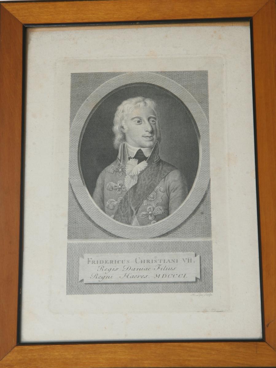 Glass, brun og sort ramme, portrett av Christian VII.