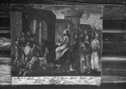 Maleri på løst lerret med bilde av Jesu inntog i Jerusalem.