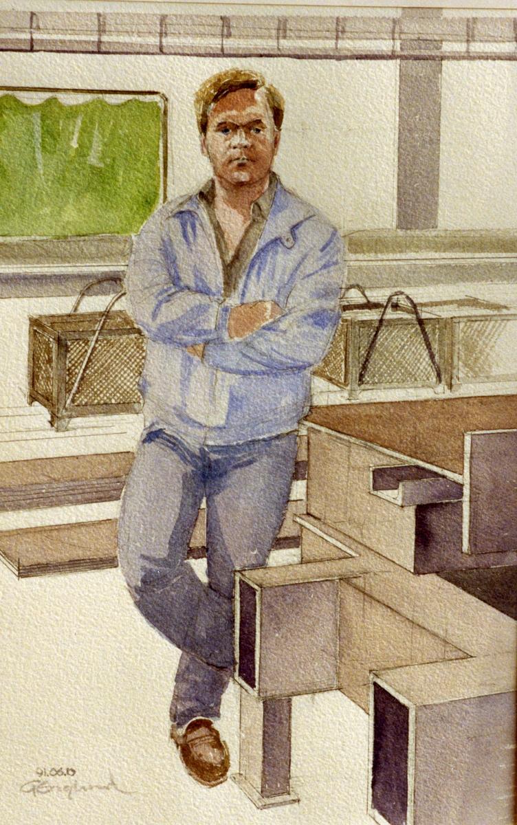 Hans Persson. 1991.06.10. AGEVE. Georg Englunds akvareller av/till arbetarna i Gävle när AGEVE flyttade 1993. En utställning i Paris 1993. Akvarellerna ställdes även ut i lunchrummet på AGEVE.