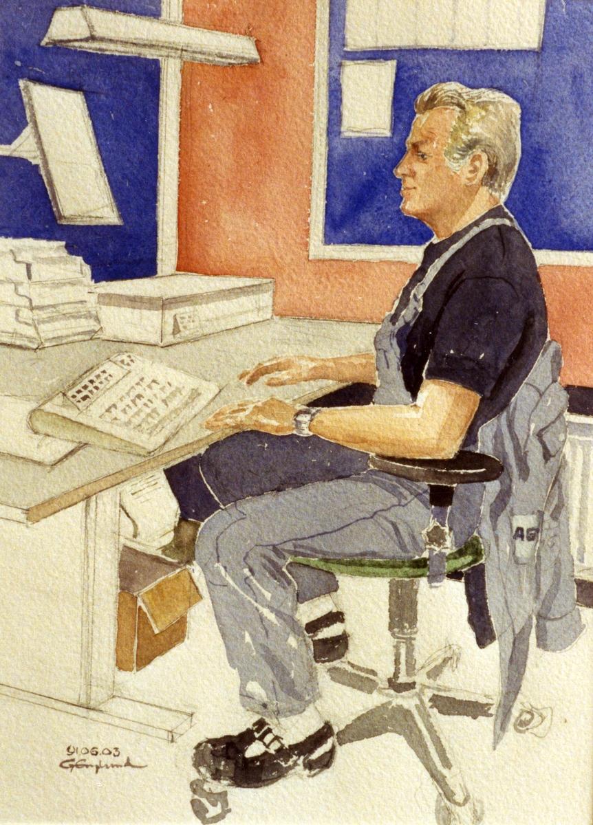 Håkan Wannberg. 1991.06.03. AGEVE. Georg Englunds akvareller av/till arbetarna i Gävle när AGEVE flyttade 1993. En utställning i Paris 1993. Akvarellerna ställdes även ut i lunchrummet på AGEVE.