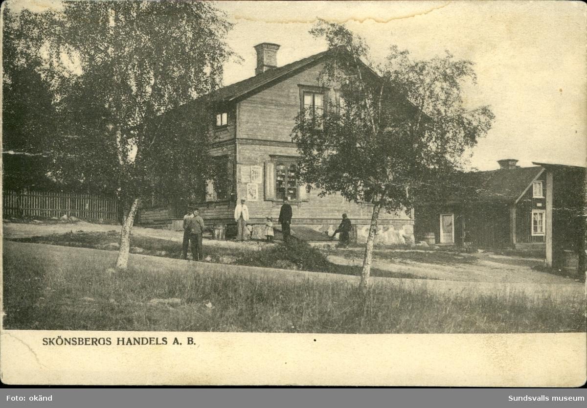 Vykort med motiv över Handels AB i Skönsberg.