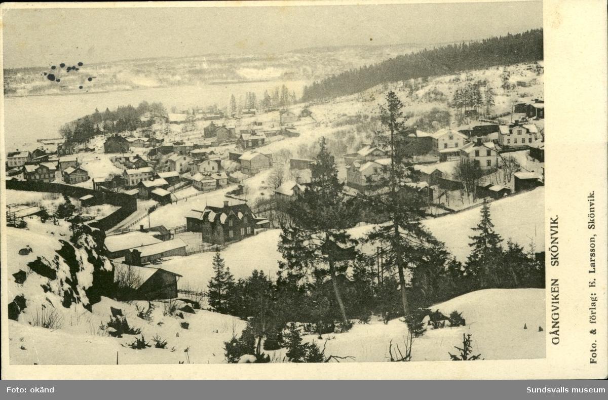 Vykort med vintermotiv över Gångviken i Skönvik, Timrå.