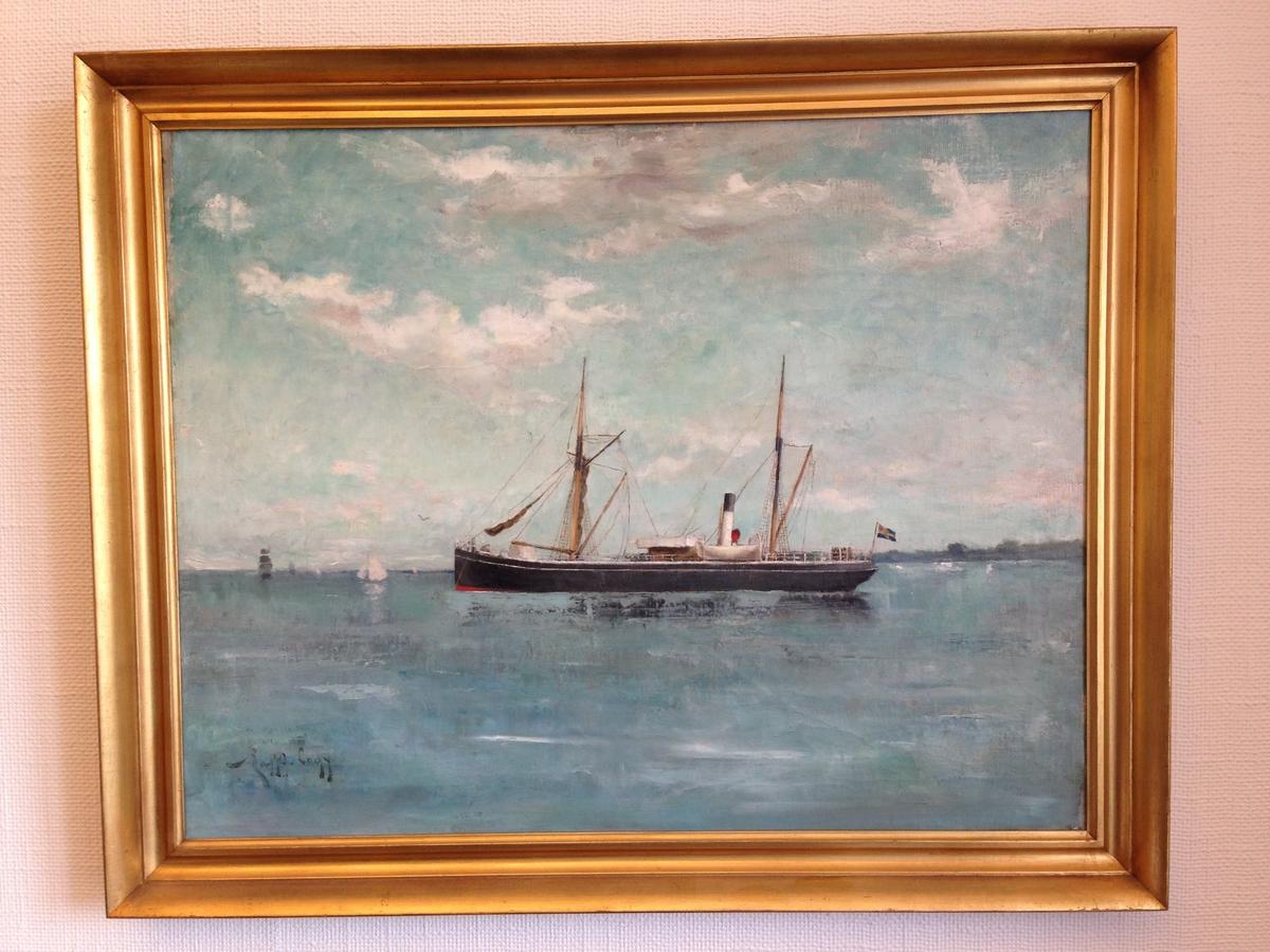 """Tavla med ram. Olja på duk. Motiv: Ångfartyget """"Balder"""" till havs. Seglar från höger till vänster. Tvåmastad med röd-grå-svart skrov och vitsvart skorsten. I akter svensk unionsflagga med norskt unionsmärke. Den molniga himlen och vattnet har turkosgrön färgton (ev. sekundär effekt). I bakgrunden segelfartyg och till höger skymtar land. Ångfartyget byggdes 1872 för P.J. Haegerstrand rederi i Gävle och såldes 1909 till Dunkerque. Signatur nere till vänster: Ralph Lagye"""" (osäker). Etiketter på baksidan  med förvärvshistorik och lista över befälhavare med årtal. Profilerad, förgylld träram utan ornamentik. Duk spänd på kilram."""