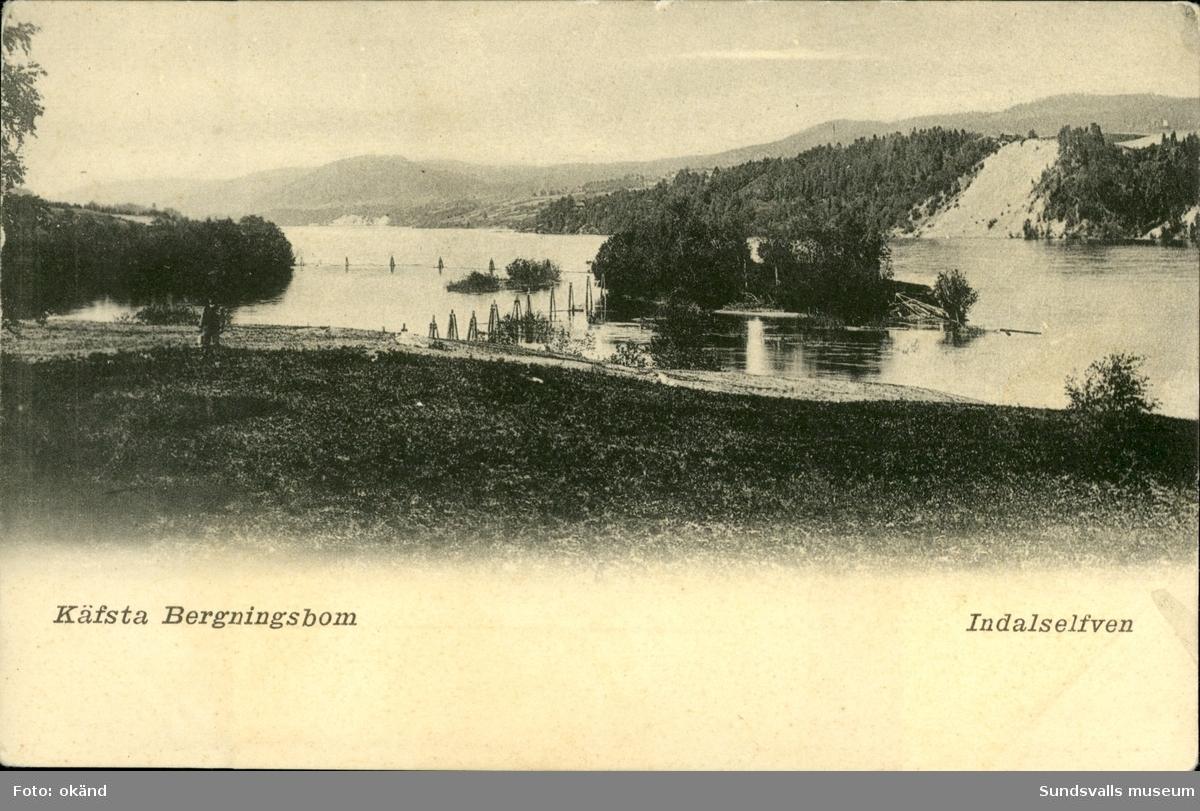 Vykort med motiv av Kävsta bergningsbom vid Indalsälven.