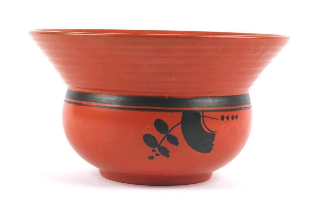 Uranrød potteskjuler med sort dekor