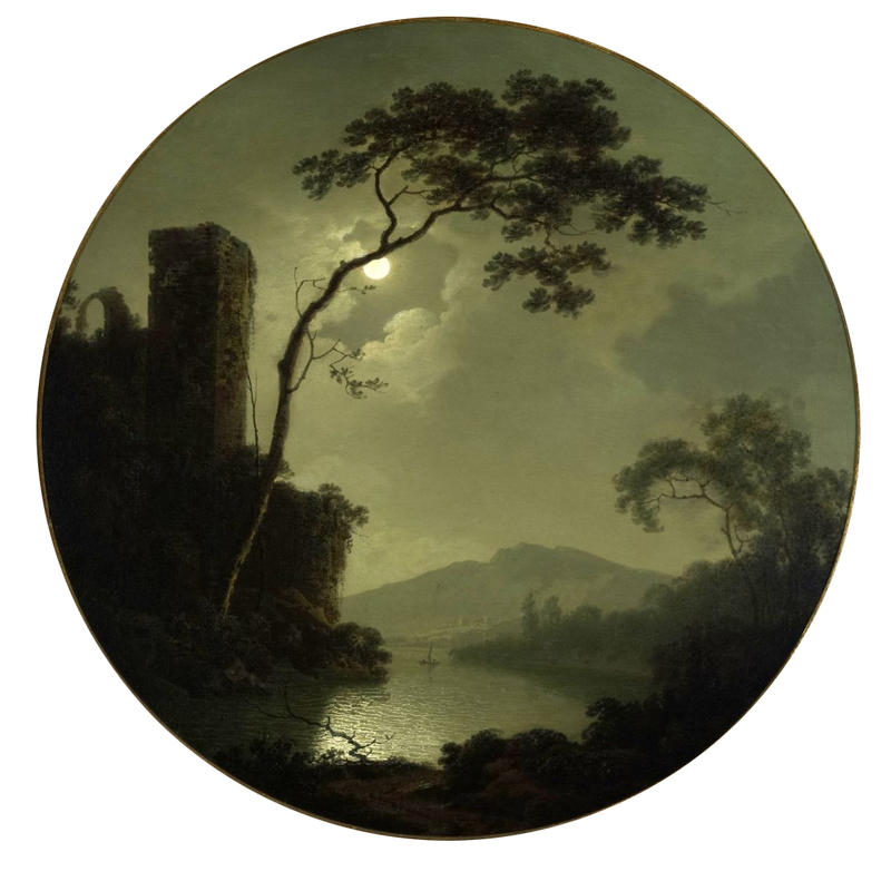 Joseph Wright of Derby, Lake with castle on a hill (1787)