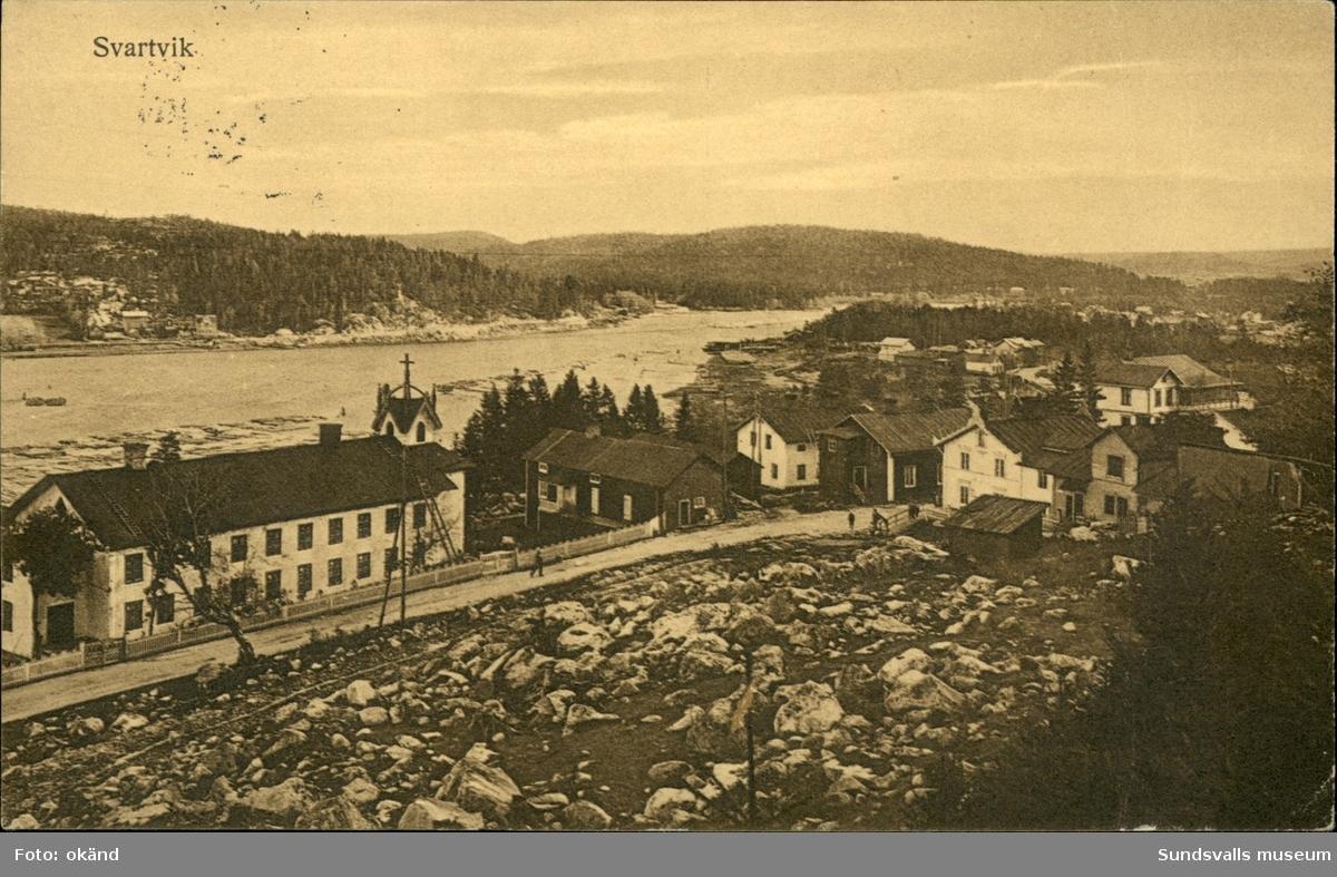 Vykort med motiv över Svartvik utanför Sundsvall.
