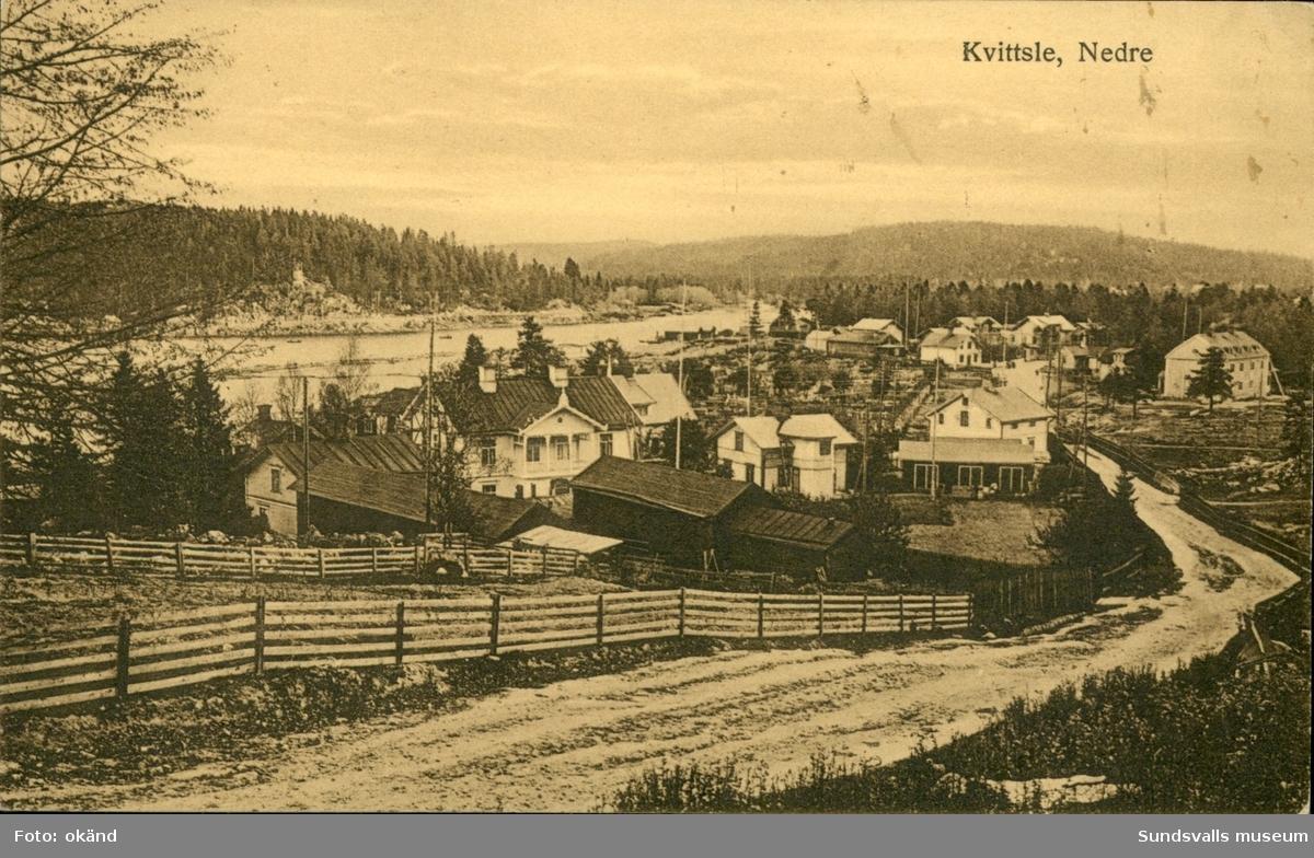 Vykort med motiv över Kvissleby utanför Sundsvall.