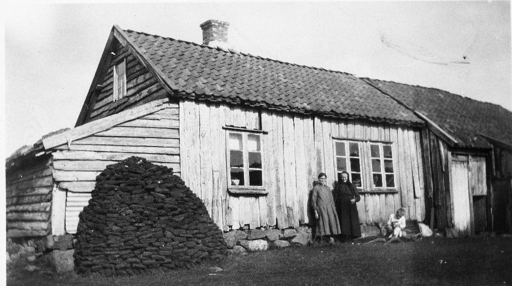 Dei gamle husa på Krusarholen. Til v. framfor huset står ein torvstakk. Ved stoveveggen står Anna Olsdtr. f. Eikeland (30.8.1862 - ) og dottera Laura Amalie Undheim (2.8.1880 - 5.1.1931) Sjå også 1990.1TIM.1.050 og 1990.1TIM.1.051